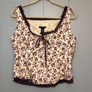 NY & CO CUTE PURPKE AND CREME TANK TOP SZ 14